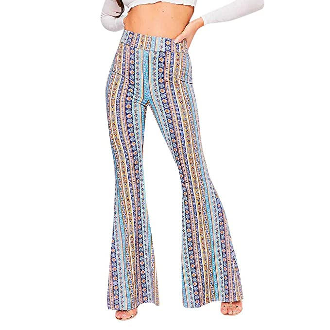 cheaper discount shop later JOFOW Womens Flare Pants Boho Vertical Striped Mix Floral ...