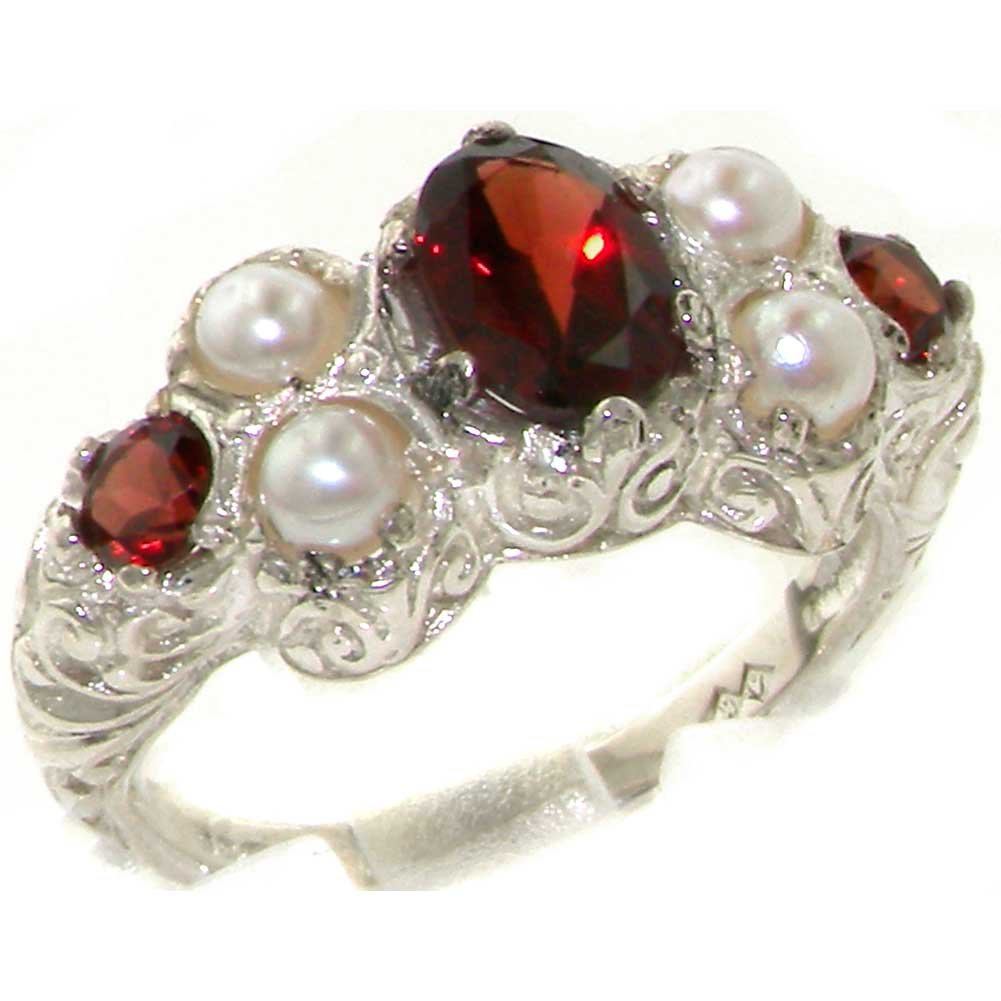 925 Sterling Silver Natural Garnet and Cultured Pearl Womens Cluster Ring - Sizes 4 to 12 Available