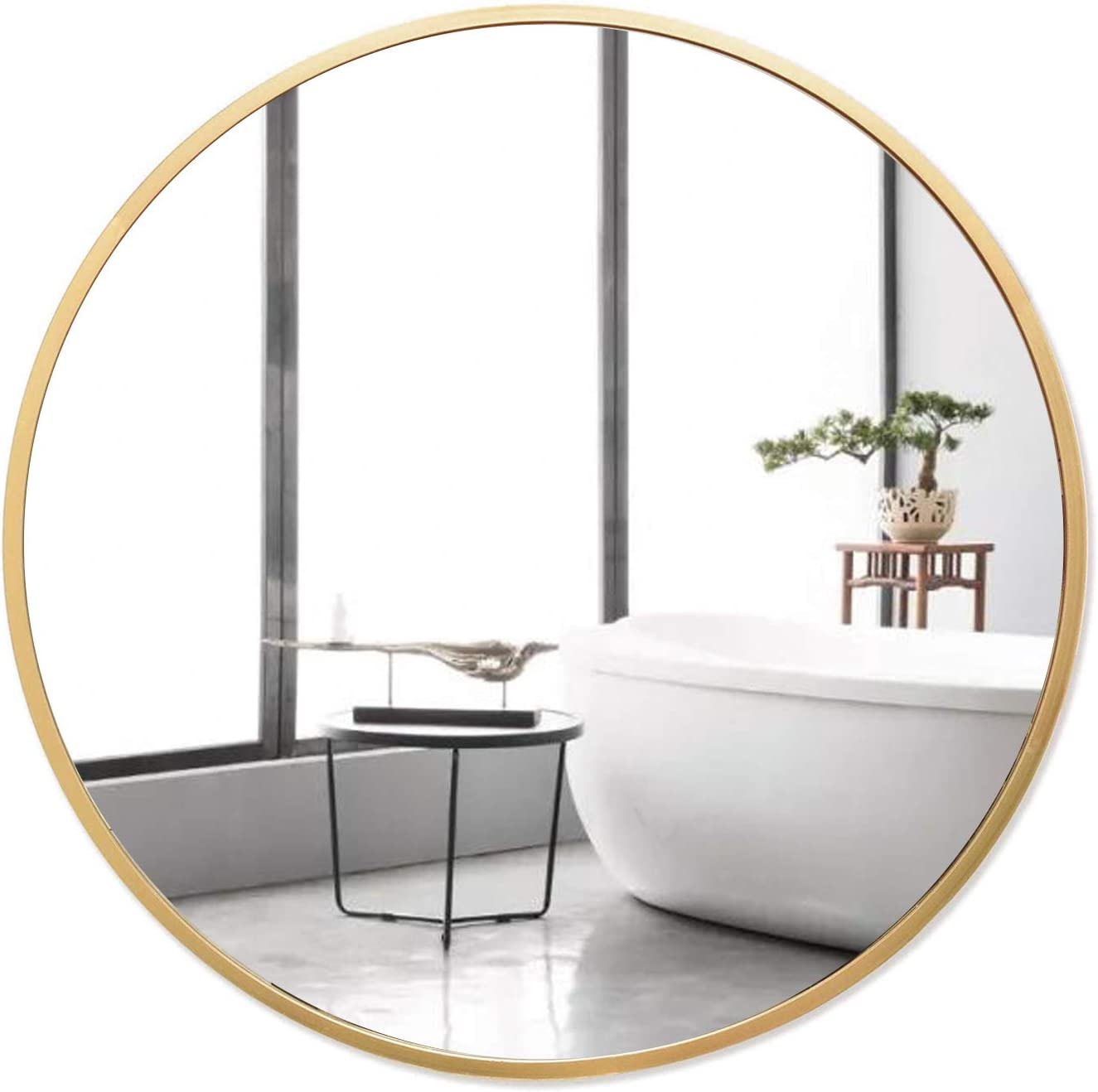 BURREN Gold Round Wall Mirror, 20-Inch Brushed Metal Framed Circular Mirror, Circle Wall Mounted Mirror for Bathroom, Vanity Room, Living Room, Entryways, Hallway, and More