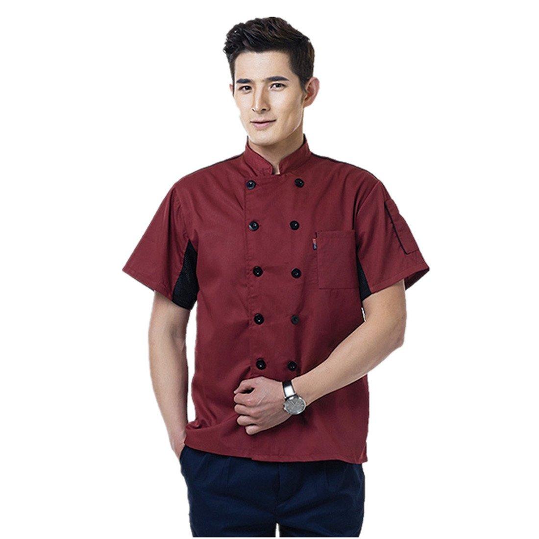 3 Colours Chef Jackets Waiter Coat Unisex Short Sleeves Underarm Mesh Many Colors