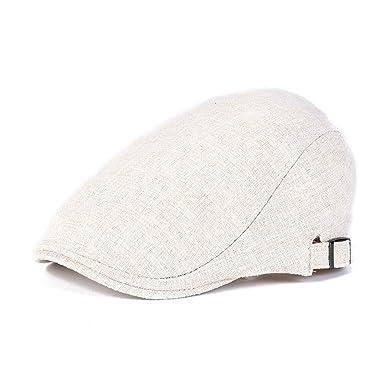 0b744c56dd3 Fashion Vintage Men Flat Cap Retro Cotton Duckbill Beret (Beige)  Amazon.co. uk  Clothing