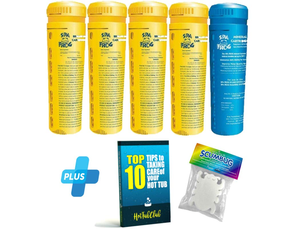 HotTubClub Spa Frog 5 Pack Replacement Floater Cartridges (4 Bromine, 1 Mineral) Floating ScumBug Oil Absorber & 2002 eBook by HotTubClub