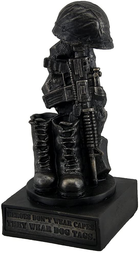 Zeckos Honoring The Fallen Military Soldier's Boots Helmet & Rifle Statue 8 Inch