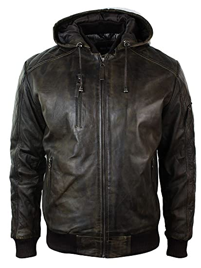 fc98c84a8 Mens Brown Washed Distressed Removable Hood Bomber Leather Jacket Quilted