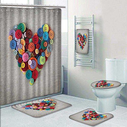5 Piece Bath Rug Set, Colorful buttons heart on sacking Print Bathroom Rugs Shower Curtain/Bath Towls Sets ()