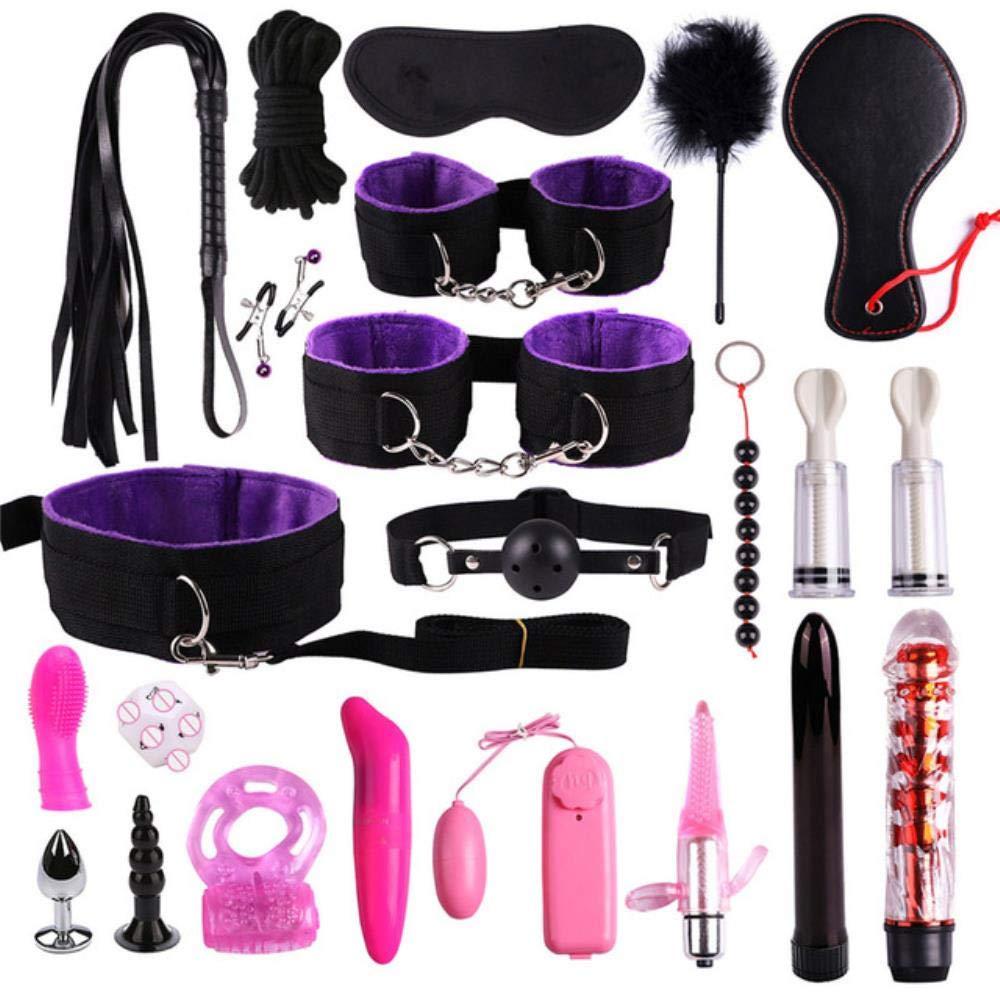 Craige 23 Pcs Sex Toys for Woman Adult Games Handcuffs Whip Mouth Gag Rope Metal Butt Plug BDSM Bondage Set Bead Anal Plug Vibrator,Black Purple 23pcs