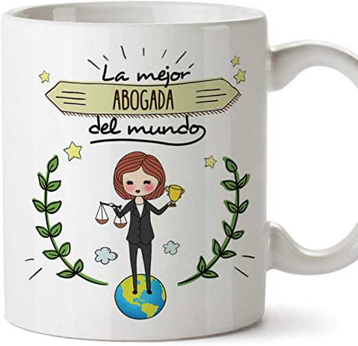 MUGFFINS Abogada Tazas Originales de café y Desayuno para Regalar a Trabajadores Profesionales - La Mejor Abogada del Mundo - Cerámica 350 ml: Amazon.es: Hogar