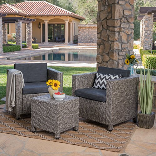 Pueblo Outdoor Wicker Club Chair Set with Maching Side Table (Mixed Black/Dark Grey)