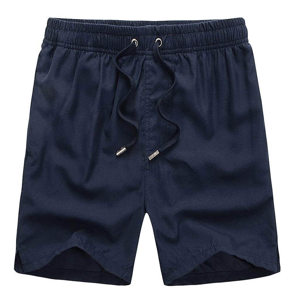 LETSQK Mens Swim Trunks Solid Surfing Quick Dry Bathing Suits Beachwear