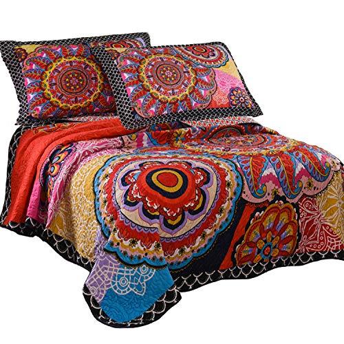 Bohemian Pattern - LAMEJOR Quilt Set Queen Size Tropical Bohemian Pattern Reversible Comforter Set 3-Piece Bedspread Coverlet Set Microfiber Color Orange
