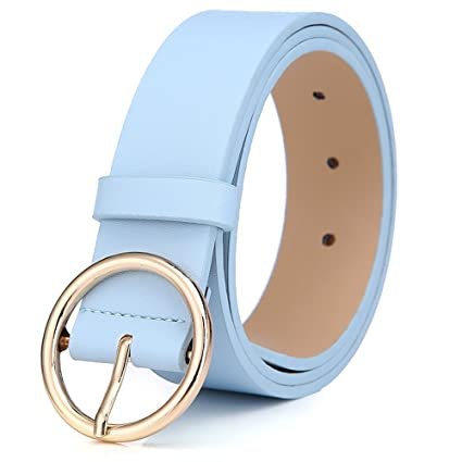 bd56bb7cb Amazon.com: BestWare Round Buckle Belt Casual Belt Wide Leather Belt Women  Belts Leather Pu Leather Belt blue: Clothing