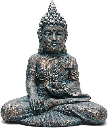 Xuping Estatua de Buda tailandesa Resina Escultura de Piedra Porche Patio jardín Sentado Estatua de Buda 44cmx28cmx55cm: Amazon.es: Hogar