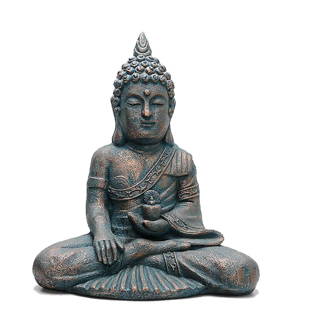 bienvenido a comprar DNSJB Estatua de de de Buda tailandesa Resina Escultura de Piedra Porche Patio jardín Sentado Estatua de Buda 44cmx28cmx55cm  buena calidad