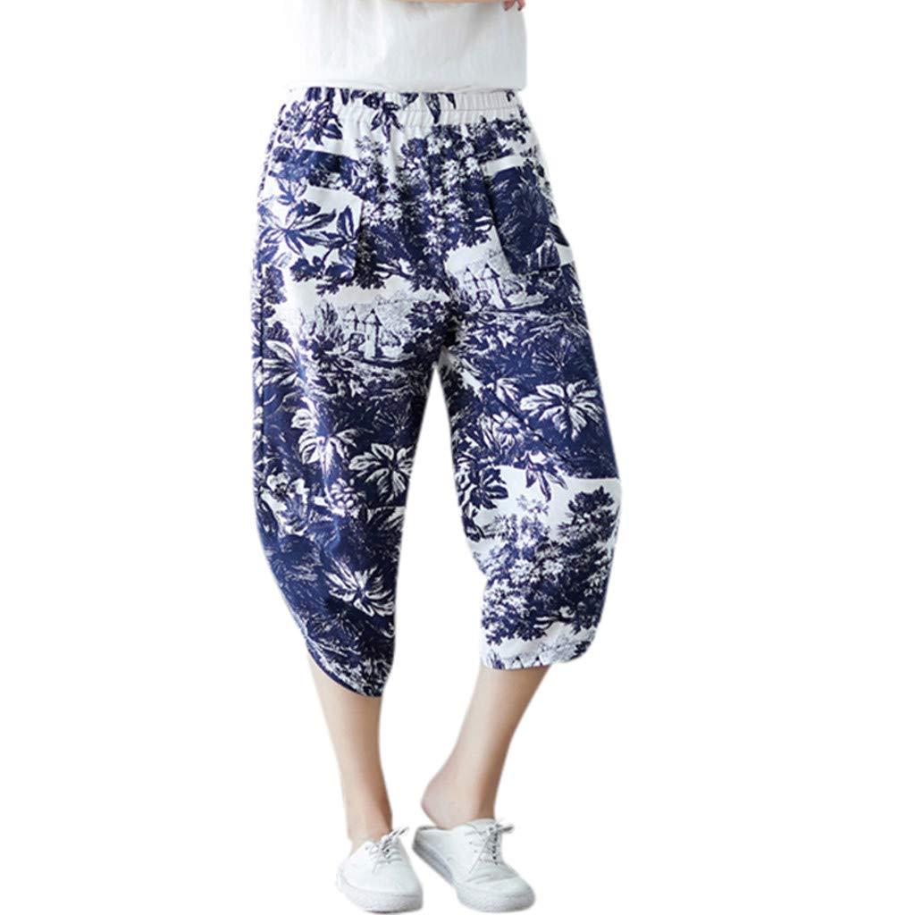 Women Vintage Loose Casual Cotton and Linen Calf-Length Harem Pants