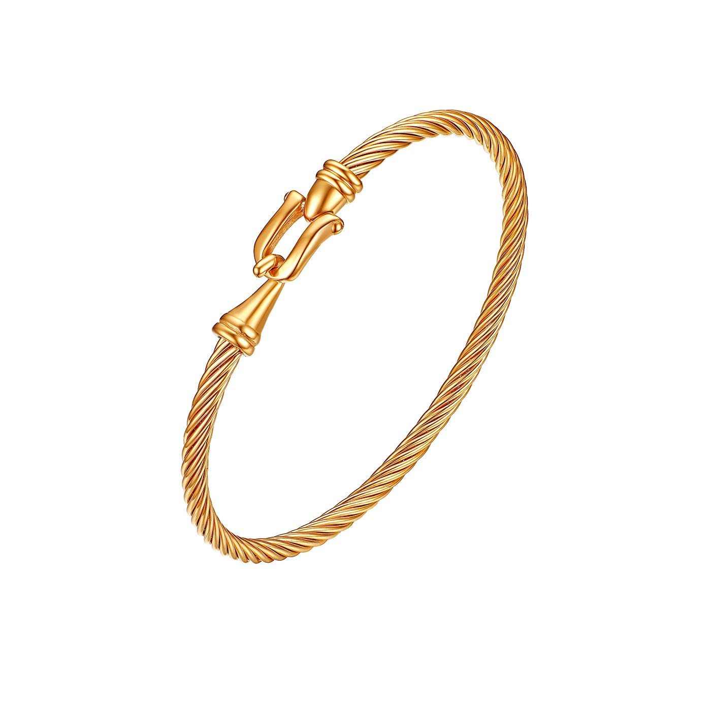 Womens Girls Twisted Cable Bangle Bracelet with Hook Clasp Flongo Cable Bangle Bracelet Cable Chain Cuff Bracelet Anklet Valentine Wedding Engagement Wrist Bracelet
