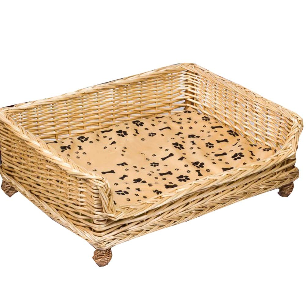 B 83X60X15x25CM B 83X60X15x25CM Dog Pet Nest Rattan Dog Basket for Indoor & Outdoor Use With Cotton And Bamboo Mattress All Seasons Available (color   B, Size   83X60X15x25CM)