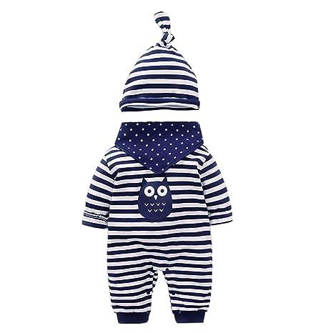 mameluco recién nacidos bebes ropa para bebés nacido Romper ropa muñeca largos ropa de niño de la manga + Sombrero + baberos