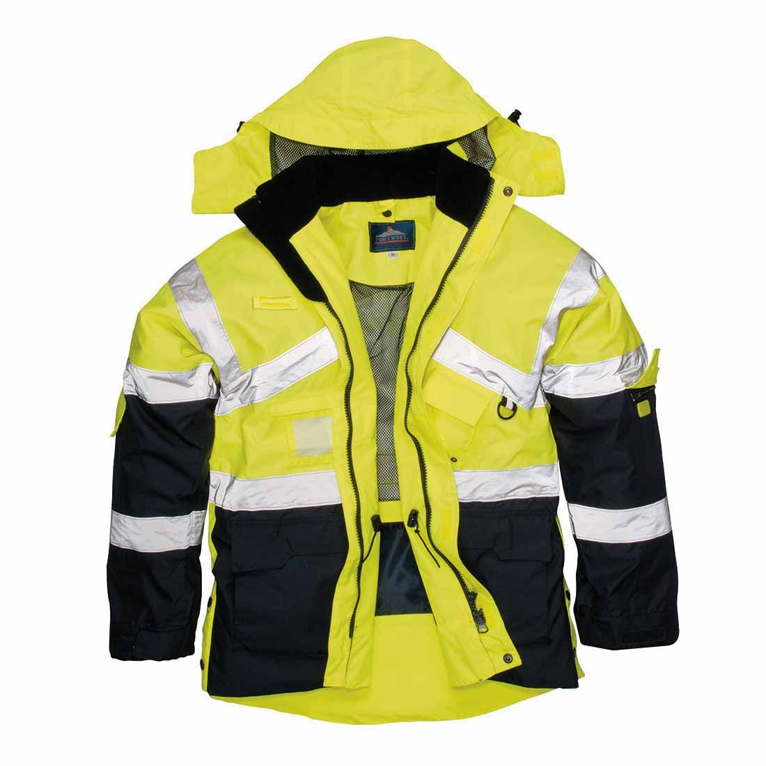 HI VIS Breathable Safety Jacket Coat Radio Loop D Ring High Visibility Workwear S760