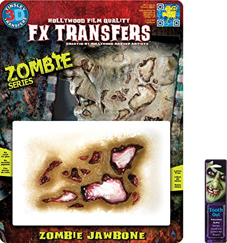 [Bundle: 2 Items - Zombie MD Jawbone 3D FX and Free Pack of Makeup] (3d Skeleton Zombie Costumes)