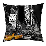 Moslion New York Pillow Decorative Throw Pillow Cover Vintage New York City Satin Square Cushion Cover Standard Pillow Cases for Men Women Boys Girls Home Sofa Bedroom Livingroom 18'x18',Black Yellow
