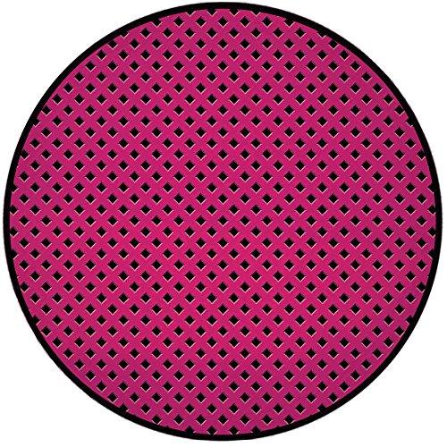 Shower Line Chair Select (Printing Round Rug,Magenta Decor,Diamond Line Grill Cross Wire Design Logo Digital Motif Image Mat Non-Slip Soft Entrance Mat Door Floor Rug Area Rug For Chair Living Room,Black Fuchsia)