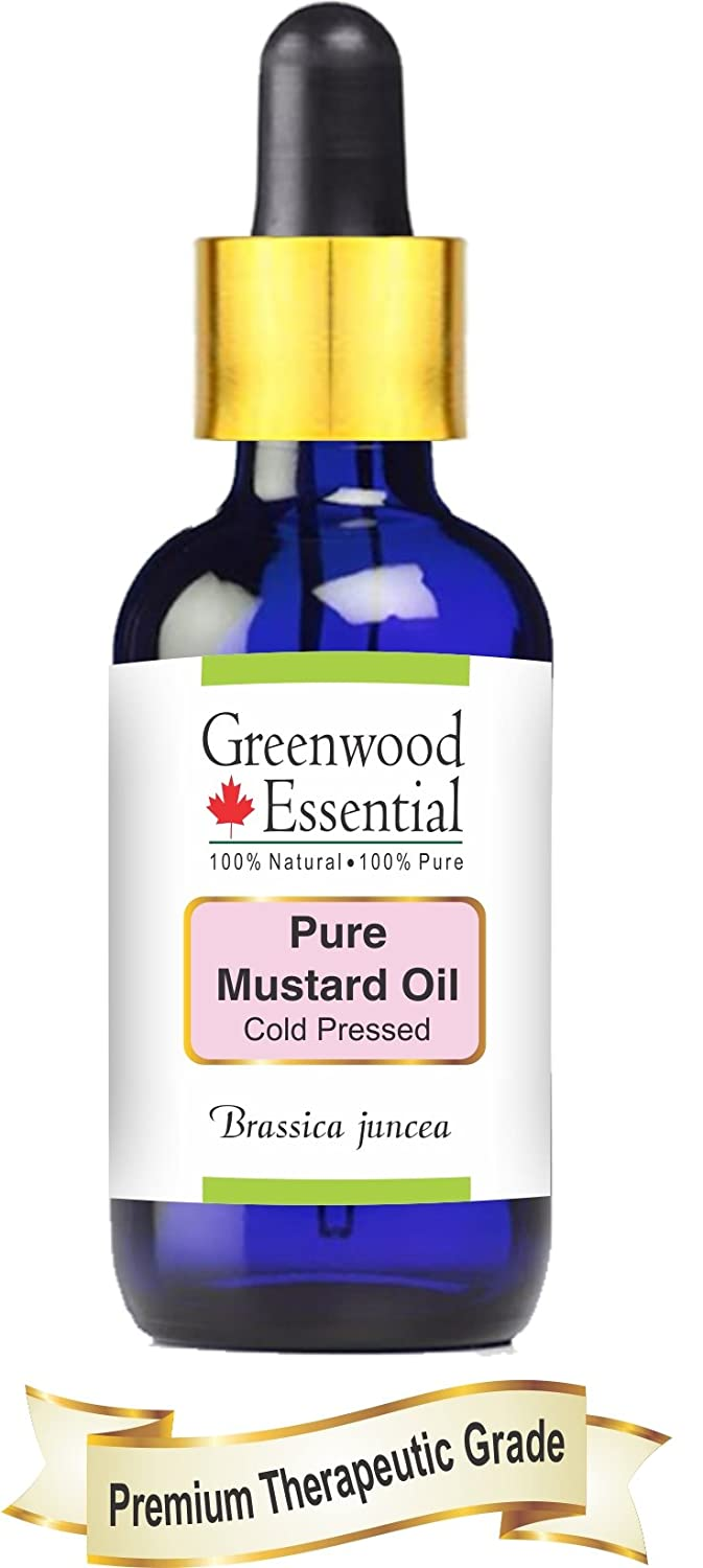 Greenwood Essential Pure Mustard Oil (Brassica juncea) with Glass Dropper 100% Natural Therapeutic Grade Cold Pressed 50ml (1.69 oz)