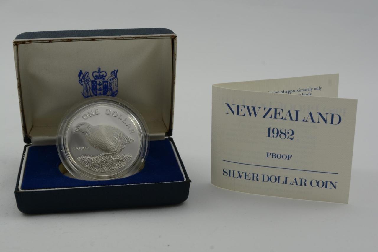 New Zealand 1982 Silver Dollar Proof Coin Takahe