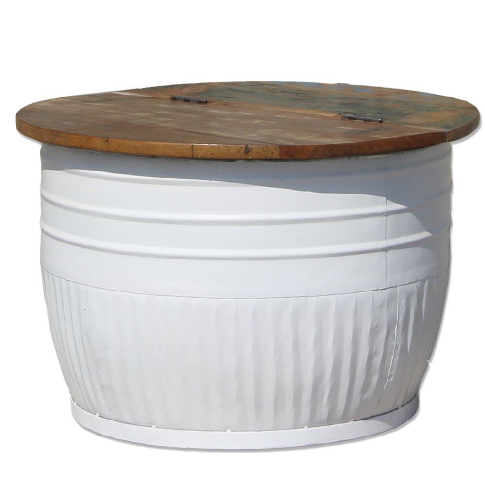Beistelltisch Couchtisch Tisch STORAGE Rund Metall Holz 70 Cm Weiss Amazonde Garten