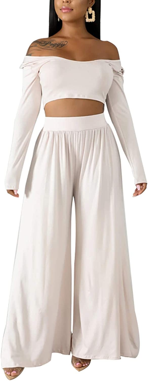 Two Piece Outfits Tracksuit Set Long Sleeve High Waisted Flowy Pants Lounge Wear
