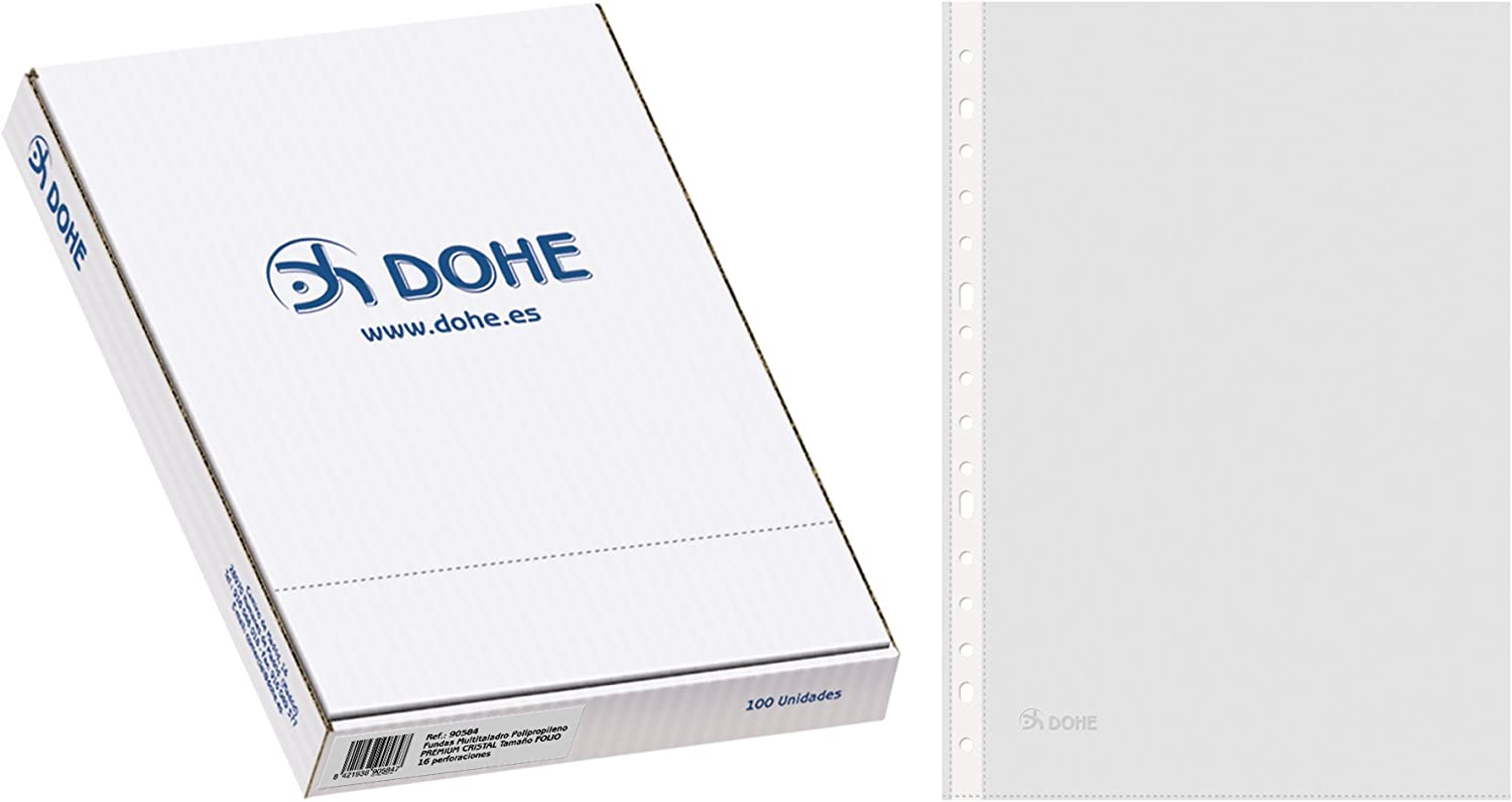 Dohe 90584 - Pack de 100 fundas multitaladro, folio, Cristal