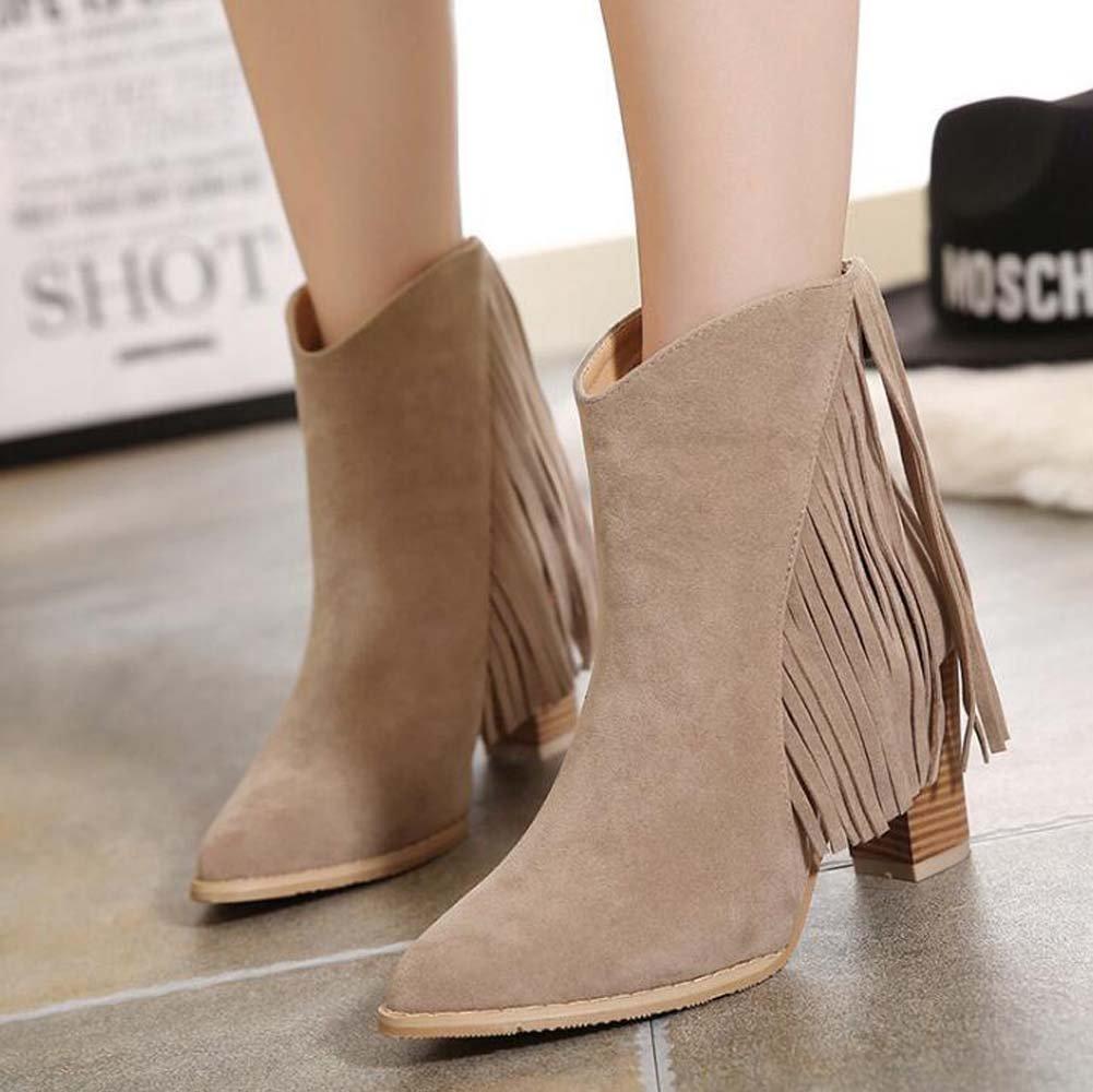 7.5cm Chunkly Heel Martin Botas Chelsea Botas Borla Botas Mujer Dulce puntiaguda Toe Seude Botas Zipper Vestido ( Color : Brown , Size : 36 ) 36|Brown