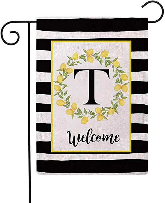 ULOVE LOVE YOURSELF Welcome Farmhouse Decorative Garden Flags with Letter T/Lemons Wreath Double Sided House Yard Patio Outdoor Garden Flags Small Garden Flag 12.5×18 Inch(T)