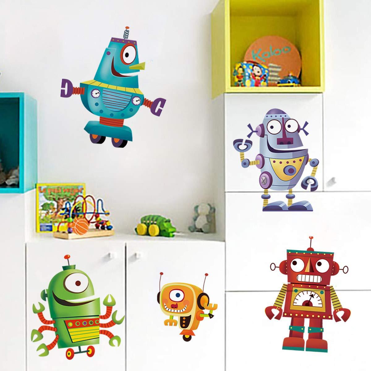 ufengke Pegatinas de Pared Robot Dibujos Animados Vinilos Adhesivos Pared Decorativos para Dormitorio Infantiles Habitaci/ón Beb/és Ni/ñas