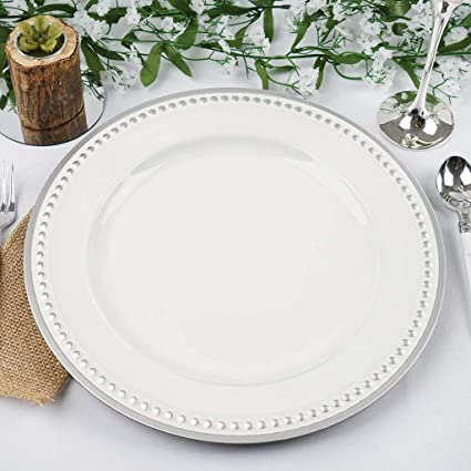 Efavormart 13u0026quot; Round Silver Rim Crystal Beaded White Acrylic Charger  Plates Dinner Servers Charger For