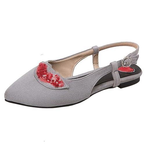 0149719eac COOLCEPT Mujer Casual sin Cordones Sandalias Plano Tacon Poco Slingback  Cerrado Zapatos Tamano: Amazon.es: Zapatos y complementos