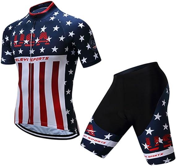 Mens Cycling Jersey Short Sleeve USA Bike Jersey Riding Tops MTB Cycling Wear