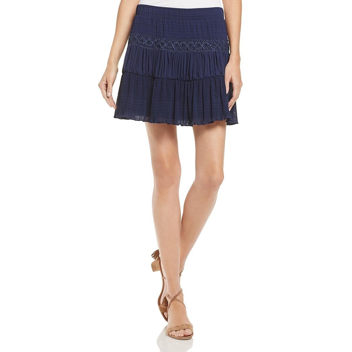GUESS Women's Sofia Peasant Skirt, Peacoat, L