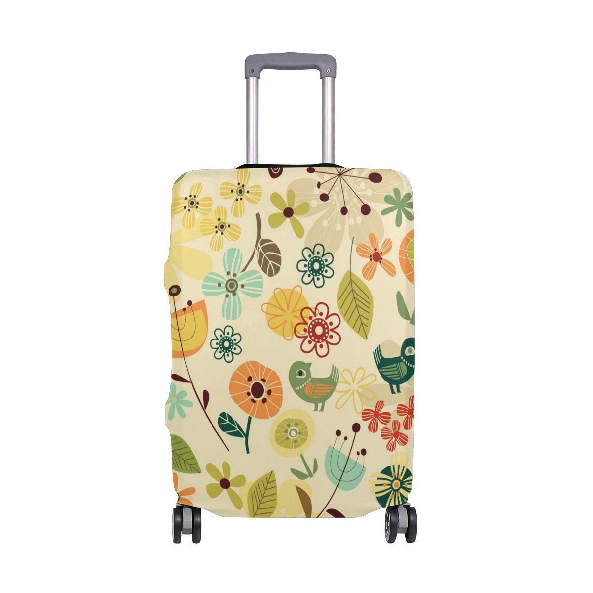 Summer Spring Birds Floral Flowers Vintage Suitcase Luggage Cover Protector for Travel Kids Men Women