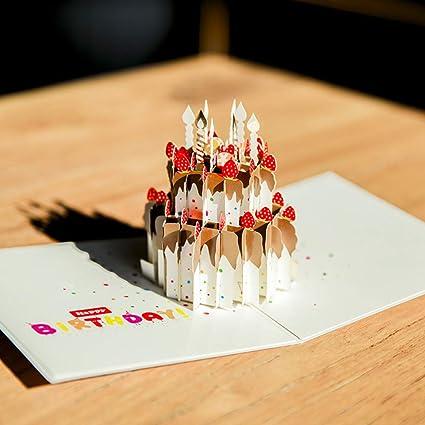 Tarjeta De CumpleañOs 3D Modelo De Pastel Tarjeta De ...