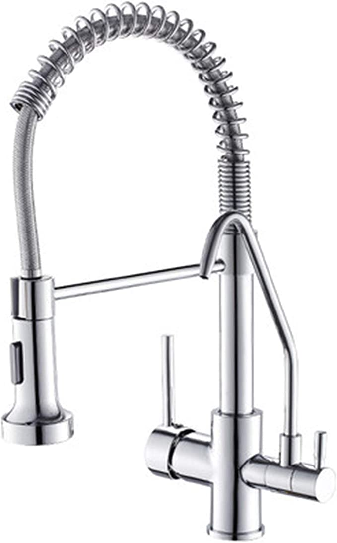 Amazon Com Single Handle High Arc Kitchen Sink Faucet Hot And Cold Free Adjustment Of Water Temperature Pull Out Faucet For Cleaning Without Dead Ends Kitchen Dining