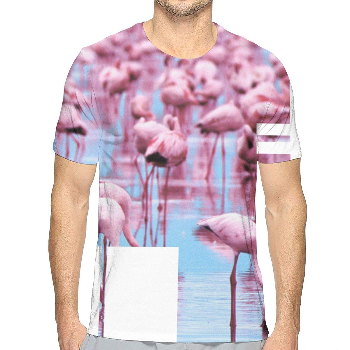 MNKAM Men Flamingo Park Retro Big Pink Flamingo Fan Crewneck Hip Hop Short Sleeve Adult T-Shirt
