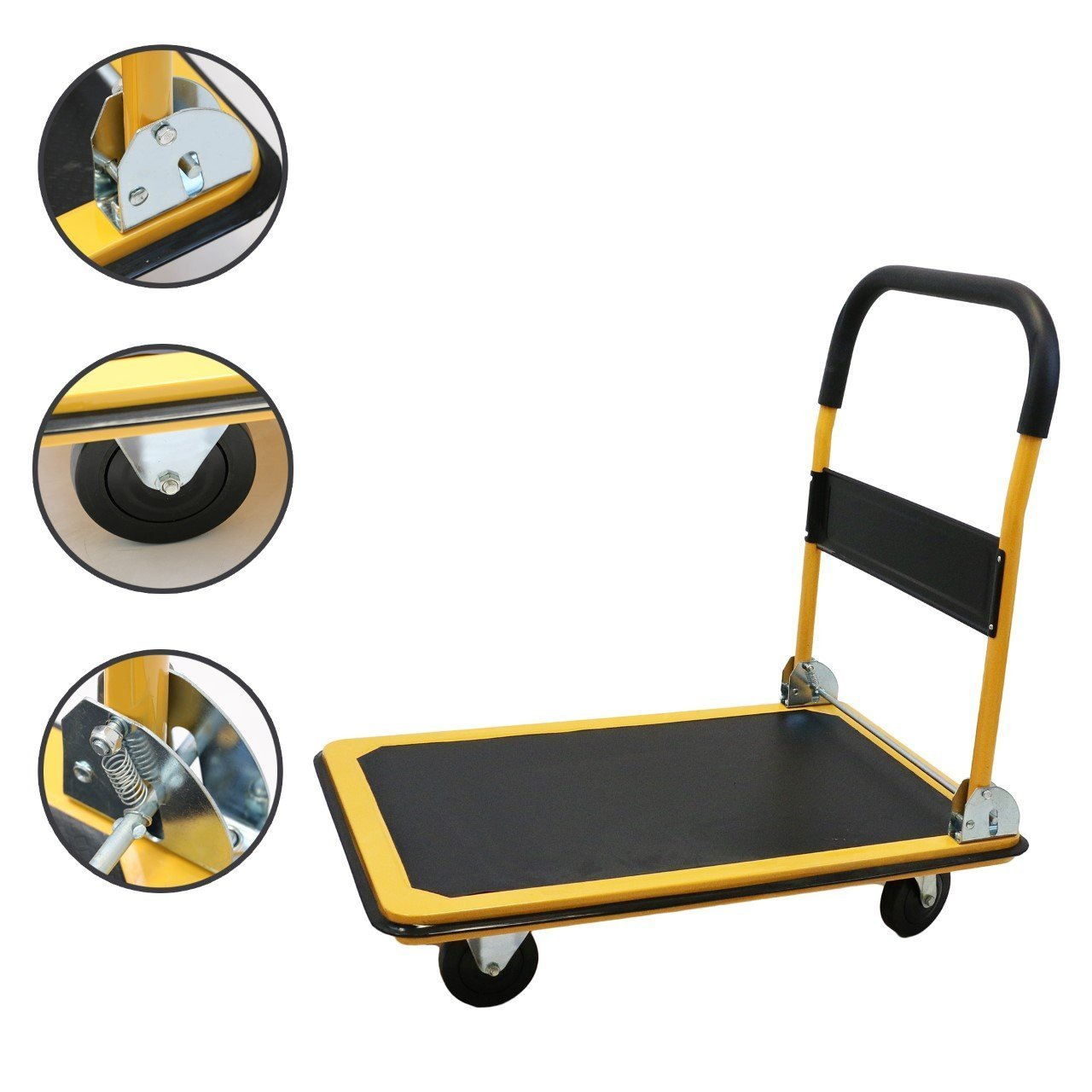 Magshion@ Platform Cart Folding Dolly Foldable Hand Truck Blue 2 Size - 330LB OR 660LB (330LB-Yellow)