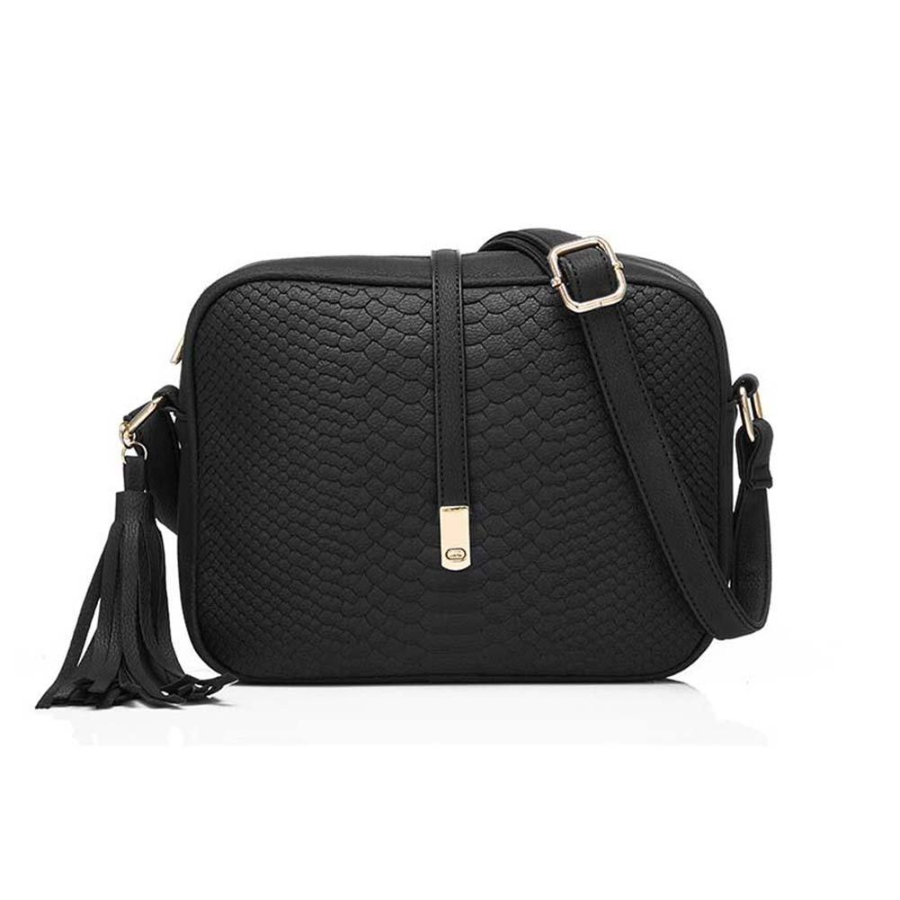 Espeedy Bolsos de hombro de cuero de la PU de las mujeres de la moda Bolso de bolso retro de Crossbody de la pequeña bolsa de mensajero con la borla