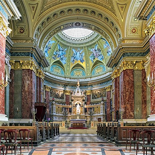 Leowefowa 5X5FT Sanctuary and Altar of St. Stephen's Basilica in Budapest Backdrop Old Church Backdrops for Photography Hungary Interior Mural Painting Marble Vinyl Photo Background Studio Props - Old Altar