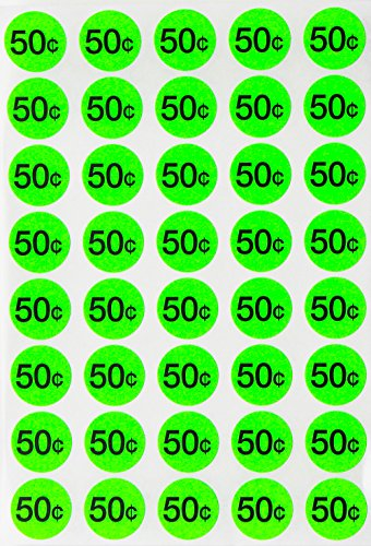 Price Stickers Garage Sale Labels - Preprinted Pricing Label Bright neon Fluorescent Green $0.50 Cents + Bonus Blank Dots 3/4