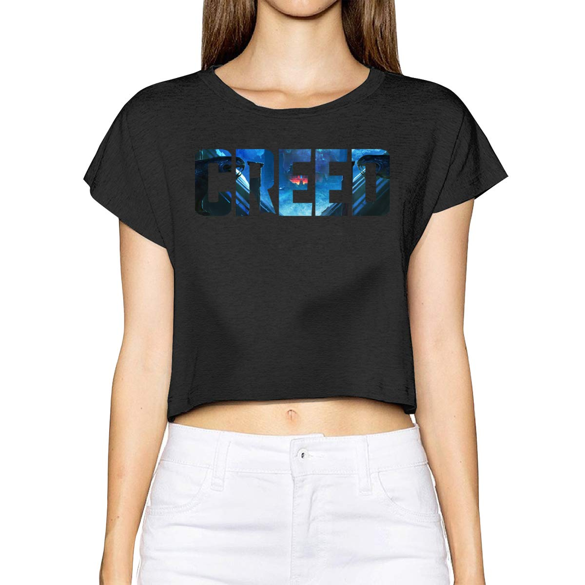 ALWAYSUV Women Logo of Creed Fashion Leak Navel Crop T-Shirts