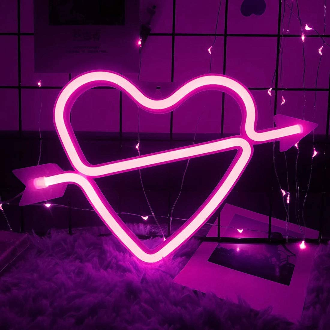 Smilco Light Up Marquee Letter Neon Sign,Pink 26 Alphabe Wall Decor Number with USB and Battery Powered Lights for Wedding Birthday Cheristmas Party Bedroom Decoration (Heart)