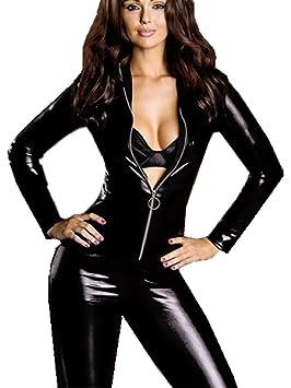 HGOOD Lencería Sexy Mujer Latex Bodysuit Ropa Interior Costume Catsuit con Cremallera Cosplay Catsuit Camisón Wetlook
