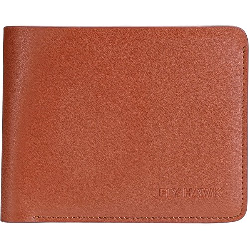 Price comparison product image FLYHAWK Genuine Leather RFID Blocking Wallets Mens Biford Wallet (ONE SIZE, BROWN)