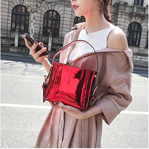 Luminoso Semplice Vernice Coreana colore Charol Della Red St Brillante Bolso La Mensajero Argento Moda Plata In Gran Great San Rojo Borsa Dgf De Messaggero Spalla Del Hombro Simple color xvTBqCaw